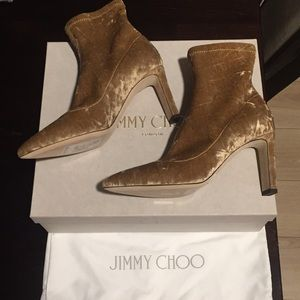 Jimmy Choo Shoes - Jimmy Choo Louella85 Crushed Stretch Velvet Bootie